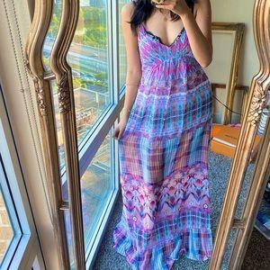 Anna Sui ONeil Purple Blue Watercolor Maxi Dress